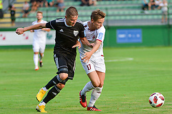 Luka Bobicanec of NS Mura vs. Tilen Mlakar of NK Triglav Kranj during football match between NS Mura and NK Triglav Kranj in 1st Round of Prva liga Telekom Slovenije 2018/19, on July 21, 2018 in Mestni stadion Fazanerija, Murska Sobota , Slovenia. Photo by Mario Horvat / Sportida