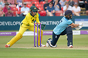 Katherine Brunt sweeps during the Royal London Women's One Day International match between England Women Cricket and Australia at the Fischer County Ground, Grace Road, Leicester, United Kingdom on 2 July 2019.