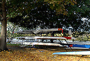 Boston, USA, Boat racking out side the Riverside Club, Head of the Charles, Race Charles River,  Cambridge,  Massachusetts. Sunday  20/10/2007  [Mandatory Credit Peter Spurrier/Intersport Images]..... , Rowing Course; Charles River. Boston. USA