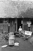 A young girl walking out of Goose hall, Glastonbury 1989