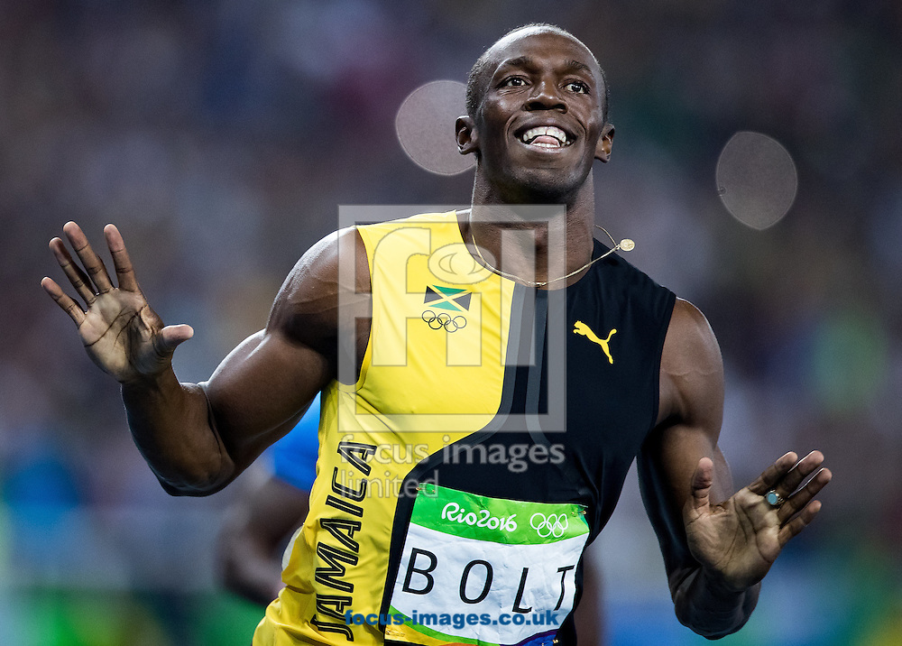Usain Bolt of Jamaica retains his title and wins his third successive Gold Medal in the Men's 100m on day nine of the XXXI 2016 Olympic Summer Games in Rio de Janeiro, Brazil.<br /> Picture by EXPA Pictures/Focus Images Ltd 07814482222<br /> 14/08/2016<br /> *** UK &amp; IRELAND ONLY ***<br /> <br /> EXPA-GRO-160815-5416.jpg