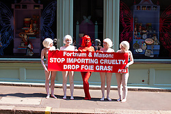 © licensed to London News Pictures. LONDON, UK  21/04/2011. Activists from PETA, semi naked and covered in St George Cross themed body paint, protest outside Fortnum and Mason. PETA wants the store to stop selling Foie Gras claiming the methods used in its production are cruel.. Please see special instructions for usage rates. Photo credit should read CLIFF HIDE/LNP