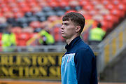 30th August 2019; Dens Park, Dundee, Scotland; Scottish Championship, Dundee Football Club versus Dundee United; Josh McPake of Dundee inspects the pitch before the match