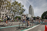 Wolfpack Hustle Civic Center crit bicycle race. The race featured some of the areas best and fastest bicycles racers. The course circumvented LA City Hall and featured fixie and road bicycle races.