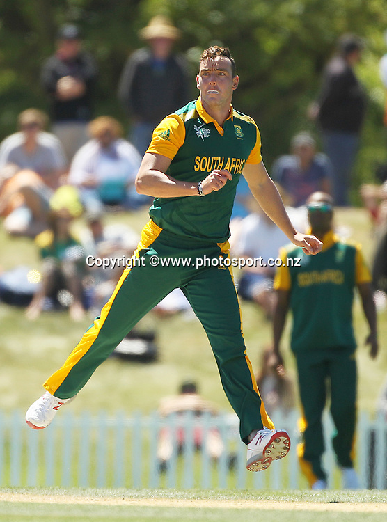Kyle Abbott of South Africa bowling during the ICC Cricket World Cup warm up game between New Zealand v South Africa at Hagley Oval, Christchurch. 11 February 2015 Photo: Joseph Johnson / www.photosport.co.nz