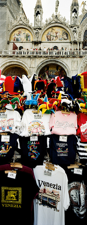 T shirts and Memorabilia for sale in Piazza San Marco. Venice, Italy. 1st May 2011. Photo Tim Clayton