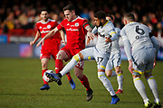 Accrington Stanley forward Billy Kee (29) and Derby County defender Jayden Bogle (37) contest a loose ball  during the The FA Cup fourth round match between Accrington Stanley and Derby County at the Fraser Eagle Stadium, Accrington, England on 26 January 2019.