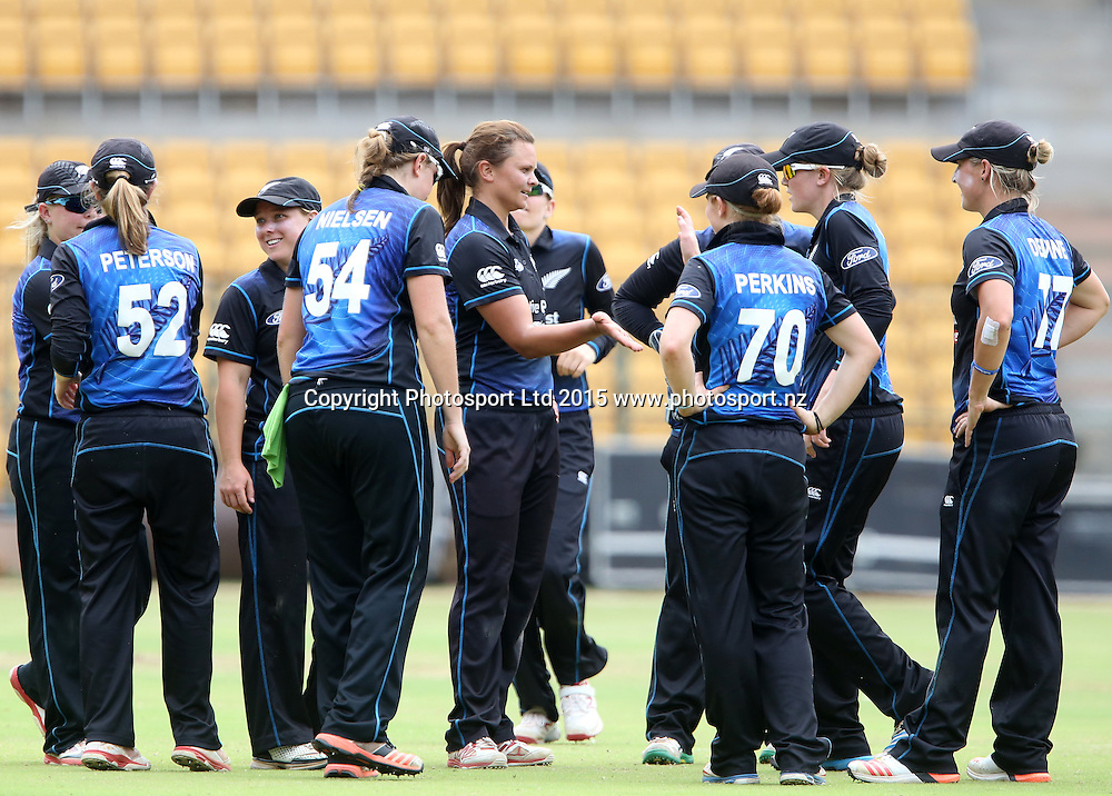 New Zealand Skipper Suzie Bates celebrating the wicket of Jhulan Goswami during a match at Chinnaswamy Stadium in Bangalore.