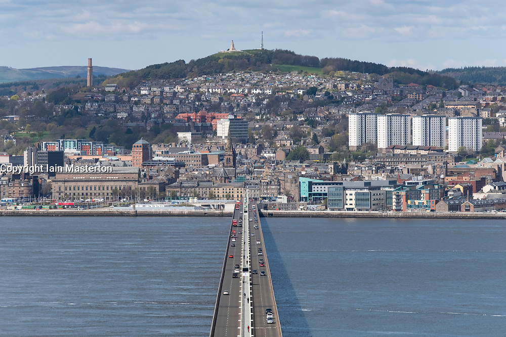 View over River Tay  and Tay Road Bridge to city of Dundee in Tayside, Scotland, UK.