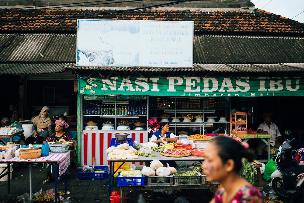 A food seller at a local fresh market in Jimbaran, Bali, Indonesia.