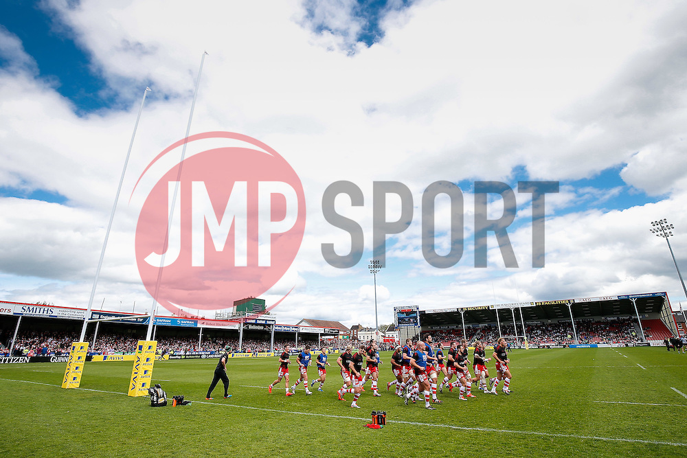 Gloucester run out before kick off - Photo mandatory by-line: Rogan Thomson/JMP - 07966 386802 - 09/05/2015 - SPORT - RUGBY UNION - Gloucester, England - Kingsholm Stadium - Gloucester Rugby v London Irish - Aviva Premiership.