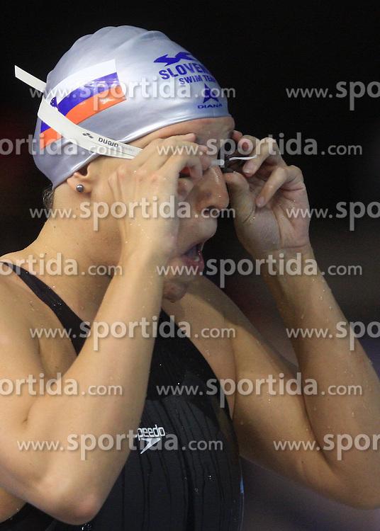 Anja Carman of Slovenia warming up for the women's 200m backstroke final race at day 4 of LEN European Short Course Swimming Championships Rijeka 2008, on December 14, 2008,  in Kantrida pool, Rijeka, Croatia. (Photo by Vid Ponikvar / Sportida)
