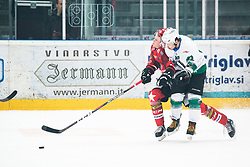 RAJSAR Saso from HK SZ Olimpija and CIMZAR Tadej from HDD SIJ Jesenice during Alps League Ice Hockey match between HK SZ Olimpija and HDD SIJ Jesenice, on February 12, 2019 in Ice Arena Podmezakla, Jesenice, Slovenia. Photo by Peter Podobnik / Sportida