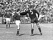 New Zealand All Black lock Colin Meads and Mannetjies Roux confront each other during 1970 Third Test at Ellis Park, Johannesburg.<br /> All Blacks v Springboks, Johannesburg, South Africa.<br /> Copyright photo: Wessel Oosthuizen / www.photosport.co.nz