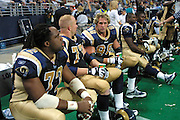 St. Louis Rams defense talking on the bench during a 15 to 14 win over the New York Giants on 10/14/2001..©Wesley Hitt/NFL Photos