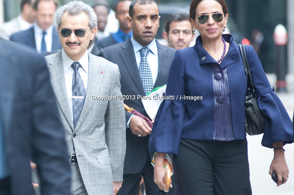 """Saudi Prince Alwaleed bin Talal Court Case,<br /> Saudi Prince Alwaleed bin Talal exits High Court. Consultant Daad Sharab claims the Prince who owns The Savoy hotel in London owes her around £6.5 million commission for the part she played in a 2005 Airbus deal. Prince Al-Waleed disputes her claim and denies that any agreement was made for a """"specific commission"""",<br /> London, United Kingdom<br /> Tuesday, 2nd July 2013<br /> Picture by Piero Cruciatti / i-Images"""