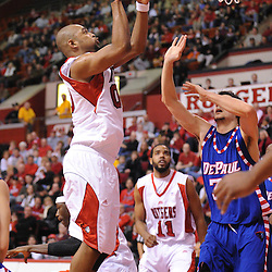 Jan 31, 2009; Piscataway, NJ, USA; Rutgers forward Gregory Echenique (00) puts up a shot over DePaul center Matija Poscic (31) during the first half of Rutgers' 75-56 victory over DePaul in NCAA college basketball at the Louis Brown Athletic Center