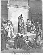 David Mourning the Death of Absalom 2 Samuel 18:33 From the book 'Bible Gallery' Illustrated by Gustave Dore with Memoir of Dore and Descriptive Letter-press by Talbot W. Chambers D.D. Published by Cassell & Company Limited in London and simultaneously by Mame in Tours, France in 1866