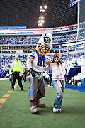 IRVING, TX - JANUARY 13:   Dallas Cowboys mascot Rowdy with fans before a game against the New York Giants during the NFC Divisional playoff at Texas Stadium on January 13, 2008 in Dallas, Texas.  The Giants defeated the Cowboys 21-17.  (Photo by Wesley Hitt/Getty Images) *** Local Caption ***