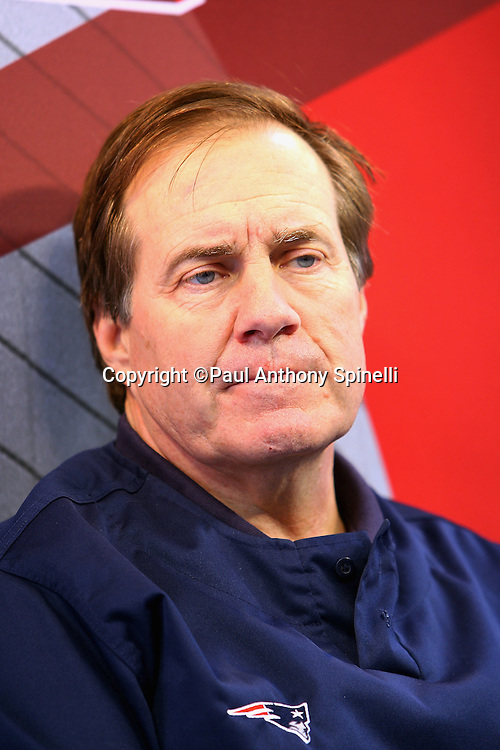 GLENDALE, AZ - JANUARY 29: Head Coach Bill Belichick of the New England Patriots speaks to the media at the Patriots Super Bowl XLII Media Day at University of Phoenix Stadium on January 29, 2008 in Glendale, Arizona.©Paul Anthony Spinelli *** Local Caption *** Bill Belichick