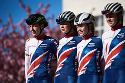 Dani Rowe (GBR) lines up with her Great Britain teammates at ASDA Tour de Yorkshire Women's Race 2018 - Stage 2, a 124 km road race from Barnsley to Ilkley on May 4, 2018. Photo by Sean Robinson/Velofocus.com