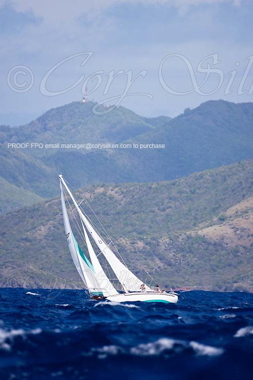 Solstice sailing in the 2010 Antigua Classic Yacht Regatta, Windward Race, day 4.