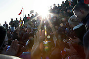 Tunisians from Sidi Bouzid, the town of Mohammed Bouazizi that burn himself in december starting the wawe of protests in all the country, do a simulation of his funeral during protests under the building of governement demanding the dissolution of the new interim governement...On 17 december Mohamed Bouazizi a fruit seller form the city of Sidibouzid in Tunisia set fire to himself starting a wave of protest that will change several arab countries under the name of Arab Spring..Despite the dictator Zine El-Abidine Ben Ali left the country on 14 January after weeks of protest the demonstrations continue asking for the political party of the regime (RCD) and all the political men involved on the past government where banned from the political life .