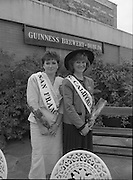 Roses of Tralee at Guinness Brewery..1986.20.08.1986..08.20.1986..20th August 1986..As part of the 50th running of the Rose Of Tralee Festival the thirty Rose contestants were invited to The Guinness Brewery,St James's Gate,Dublin. At the reception in their honour, Mr Pat Healy,Sales Director,Guinness Group Sales,welcomed the roses at the Guinness Reception Centre..Extra: Ms Noreen Cassidy,representing Leeds,went on to win the title of 'Rose Of Tralee'...Pictured, Roses from San Francisco and California represent Americas west coast