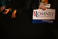 Supporters of Republican presidential candidate Mitt Romney hold signs while they wait for the candidates arrival at the Westin Copley Place in Boston Massachusetts on Tuesday, March 6, 2012.  UPI/Matthew Healey