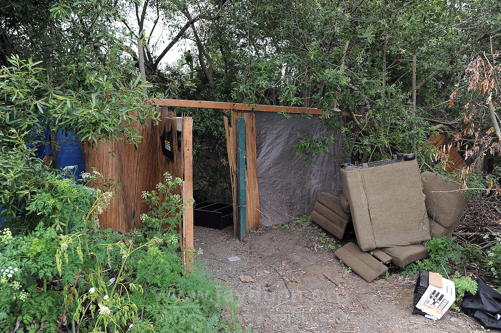 An elaborate entrance to a now-empty homeless camp along Natividad Creek in north Salinas. Monterey County officials gave homeless thirty days to clear the area.