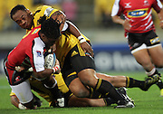 Neemia Tialata tackles Lions hooker Bandise Maku. Super 15 rugby match - Hurricanes v Lions at Westpac Stadium, Wellington, New Zealand on Saturday, 4 June 2011. Photo: Dave Lintott / photosport.co.nz