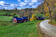 Colorful autumn farm, Reading, Vermont, USA.