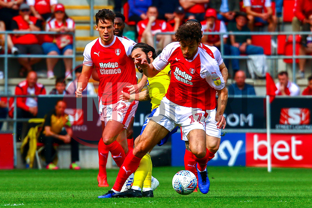 Matt Crooks of Rotherham United gets the ball from Jota of Birmingham City - Mandatory by-line: Ryan Crockett/JMP - 22/04/2019 - FOOTBALL - Aesseal New York Stadium - Rotherham, England - Rotherham United v Birmingham City - Sky Bet Championship