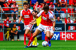 Matt Crooks of Rotherham United gets the ball from Jota of Birmingham City - Mandatory by-line: Ryan Crockett/JMP - 22/04/2019 - FOOTBALL - Aesseal New York Stadium - Rotherham, England - Rotherham United v Birmingham City - Sky Bet Championship