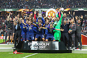 Manchester United celebrate winning the Europa League trophy during the Europa League Final between Ajax and Manchester United at Friends Arena, Solna, Stockholm, Sweden on 24 May 2017. Photo by Phil Duncan.