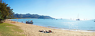 Panoramic view of the beach in front of Maggies Beach House, Horseshoe Bay, Magnetic island, Queensland, Australia