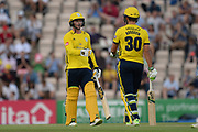 Rilee Rossouw and Colin Munro of Hampshire during the Vitality T20 Blast South Group match between Hampshire County Cricket Club and Middlesex County Cricket Club at the Ageas Bowl, Southampton, United Kingdom on 20 July 2018. Picture by Dave Vokes.