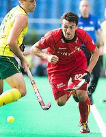 ANTWERP -   Simon Gougnard (r) of Belgium with Australian TEddie Ockenden   of Australia during the final Australia vs Belgium (1-0). WSP COPYRIGHT KOEN SUYK