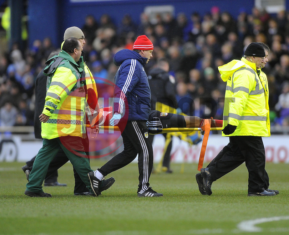 Bristol City's Marvin Elliott is stretchered off - Photo mandatory by-line: Joe Meredith/JMP - Tel: Mobile: 07966 386802 08/02/2014 - SPORT - FOOTBALL - Oldham - Boundary Park - Oldham Athletic v Bristol City - Sky Bet League One