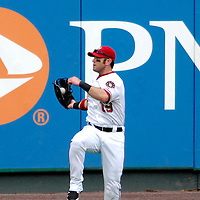 18 July 2007:  Washington Nationals left fielder Ryan Church (19) makes a leaping grab of a sacrifice fly in the 7th inning off the bat of Houston Astros second baseman Craig Biggio.  The Nationals defeated the Astros 7-6 at RFK Stadium in Washington, D.C.  ****For Editorial Use Only****