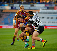 Danny Brough of Huddersfield Giants tackled by Jake Connor (R) of Hull FC during the Betfred Super League match at the John Smiths Stadium, Huddersfield<br /> Picture by Stephen Gaunt/Focus Images Ltd +447904 833202<br /> 05/07/2018