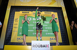 July 15, 2018 - Amiens Metropole, FRANCE - Slovak Peter Sagan of Bora-Hansgrohe celebrates on the podium in the green jersey of leader in the sprint ranking after the eighth stage of the 105th edition of the Tour de France cycling race, from Arras Citadelle to Roubaix (156,5 km), in France, Sunday 15 July 2018. This year's Tour de France takes place from July 7th to July 29th. BELGA PHOTO DAVID STOCKMAN (Credit Image: © David Stockman/Belga via ZUMA Press)