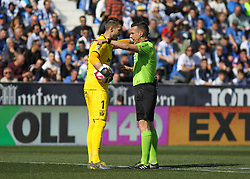 February 24, 2019 - Leganes, Madrid, Spain - Cuellarof Leganes protest to referee during La Liga Spanish championship, football match between Leganes and Valencia, February 24th, Butarque stadium, in Leganes, Madrid, Spain. (Credit Image: © AFP7 via ZUMA Wire)