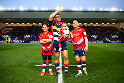 David Lemi of Bristol Rugby and his children lead out the side on his 140th and Final appearance - Rogan/JMP - 13/04/2018 - RUGBY UNION - Ashton Gate Stadium - Bristol, England - Bristol Rugby v Doncaster Knights - Greene King IPA Championship.