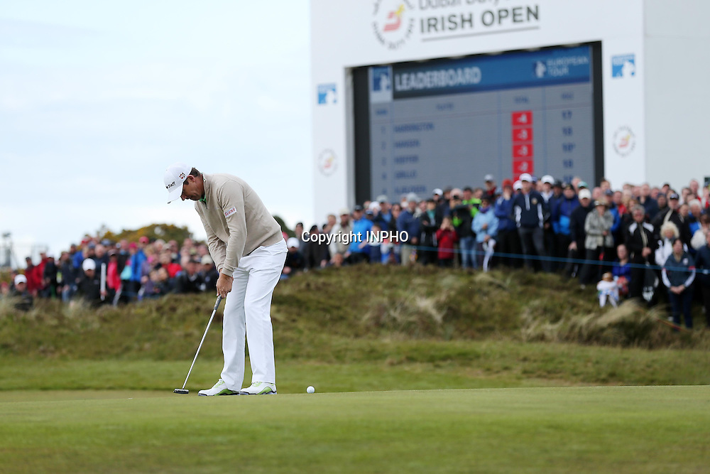 2015 Dubai Duty Free Irish Open Day 1, Royal County Down Golf Club, Co. Down 28/5/2015 <br /> Padraig Harrington on the 18th green<br /> Mandatory Credit &copy;INPHO/Presseye/Kelvin Boyes