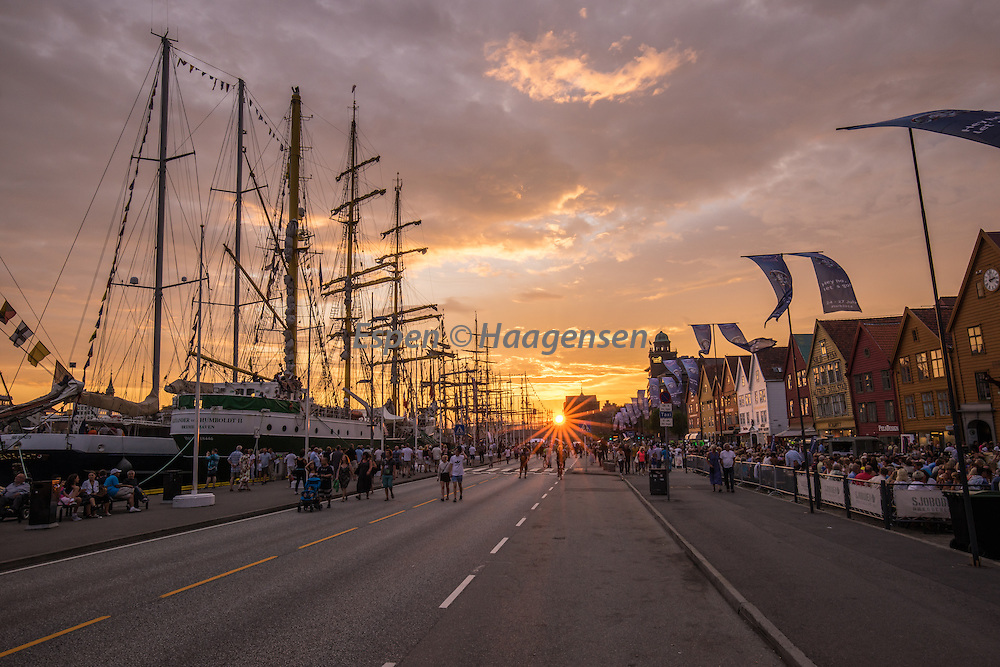 Tall ships races in Bergen a beautiful summer evening