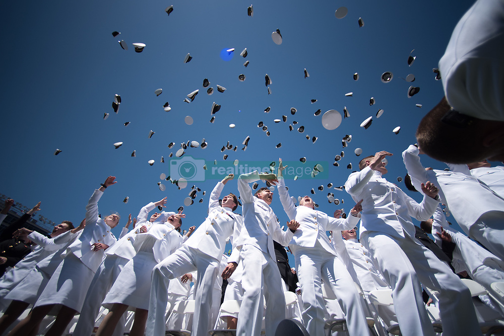 May 24, 2019 - Annapolis, Maryland, U.S. - Graduates of the U.S. Naval Academy throw their hats in the air following their 2019 graduation and commissioning ceremony in Navy-Marine Corps Memorial Stadium, Annapolis, Md., May 24, 2019. (Credit Image: ? DoD/ZUMA Wire/ZUMAPRESS.com)
