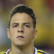 Santiago Arias, Columbia, during the Columbia Vs Canada friendly international football match at Red Bull Arena, Harrison, New Jersey. USA. 14th October 2014. Photo Tim Clayton