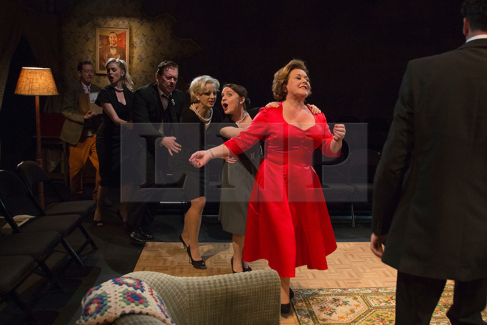 © Licensed to London News Pictures. 02/09/2015. London, UK. Coronation Street actress Wendi Peters leads a conga. World premiere of Hatched 'n' Dispatched, a black comedy set on one evening in 1959, opens at the Park Theatre in Finsbury Park. Written by Gemma Page & Michael Kirk, directed by Michael Kirk, the comedy stars Wendi Peters, Diana Vickers and Vicky Binns. Running from 1 to 26 September 2016. Photo credit : Bettina Strenske/LNP