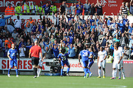 Marouane Fellaini (25) of Everton celebrates with fans after he scores his sides 3rd goal. .  Barclays Premier league, Swansea city v Everton at the Liberty stadium in Swansea, South Wales on Sat 22nd Sept 2012.   pic by  Andrew Orchard, Andrew Orchard sports photography,